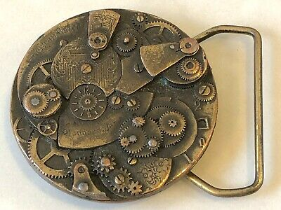 Vintage Watch Time Piece Mechanism Parts Brass Belt Buckle