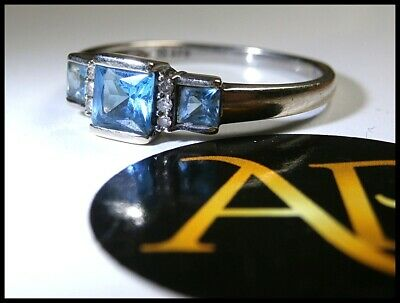 Antique Art Deco Period 9Crt White Gold Trinity Ring – Trio of Royal Blue Topaz