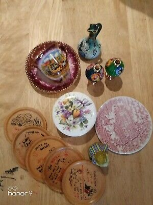 Job Lot Vintage items, China, coasters, tea cup n saucer, plate.