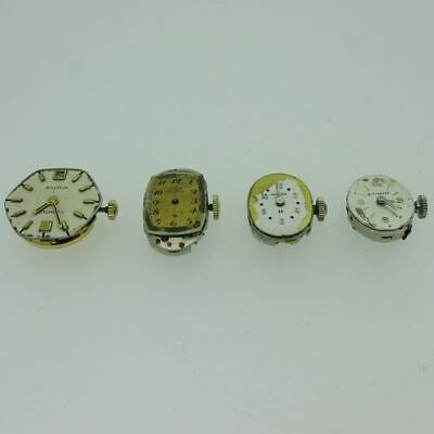 Lot of 4 Vintage Ladies Bulova Elgin Hamilton Wittnauer Movements and Dials Part