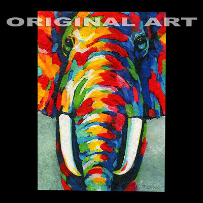 original hand painting drawing animals acrylic art picture elephant ACEO signed