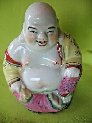 Old antique vintage 1950's Ceramic famille rose laughing Buddha