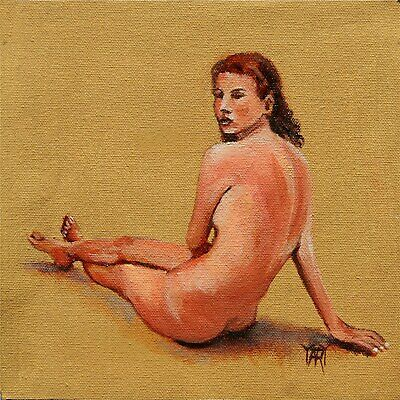 SOLD Nude Girl Woman Seated FIgure Study Sepia ORIGINAL OIL PAINTING Yary Dluhos