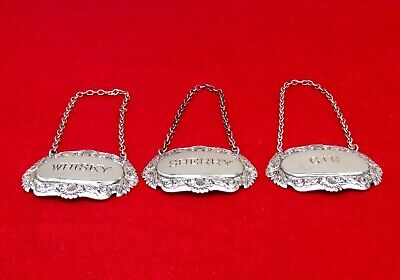Joblot Of 3 Antique Repousse Silver Plated Decanter Labels GIN - SHERRY - WHISKY