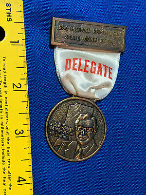 1980 Indiana Republican State Convention Delegate Ribbon Pin Badge VTG Otis R