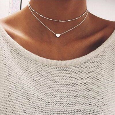 Vintage Boho Double Layer Heart Women Choker Pendant Necklace Chain Jewelry Gift