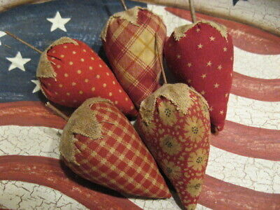 Primitive Americana Strawberries Red Fabric Bowl Fillers Set of 5 (A)