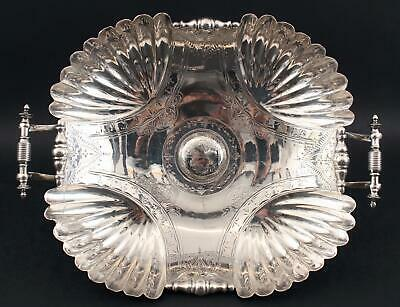Large Antique 19thC Wilcox Aesthetic Engraved Silverplate Center Fruit Bowl