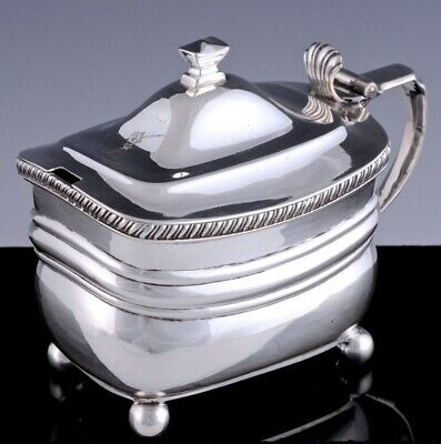 Vfine 1812 Georgian London Sterling Silver Armorial Footed Mustard Condiment Pot