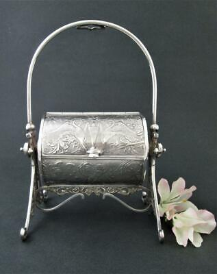 Antique Silver-plated JEWELRY CASKET box - Embossed Griffins & Goddesses c.1880s
