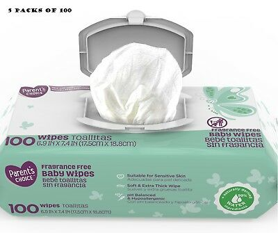 NEW Parent's Choice Fragrance Free Baby Wipes 500 5 packs x 100 sensitive