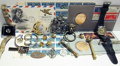 Junk Drawer Estate Lot Auction Jewelry Medals Stamps Watches Vintage Reuse