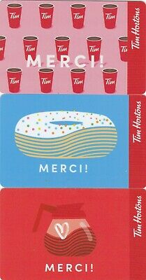 3 Tim Hortons gift card in french MERCI new NO VALUE 0$