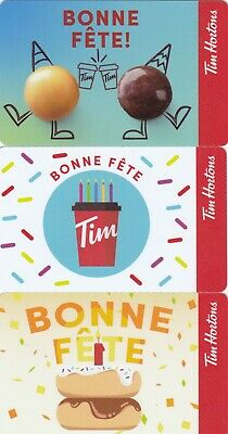3 Tim Hortons gift card in french BONNE FETE NO VALUE 0$