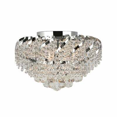 French Empire 6-light Full Lead Crystal Chrome Finish 16-inch Round Flush Mount