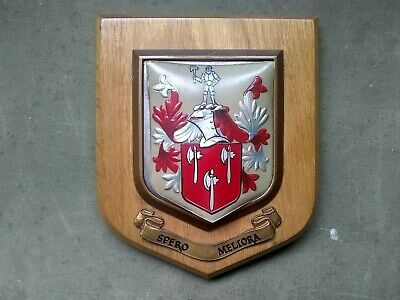 Vintage Wooden  Coat of Arms Plaque Ainsworth with Spero Meliora motto