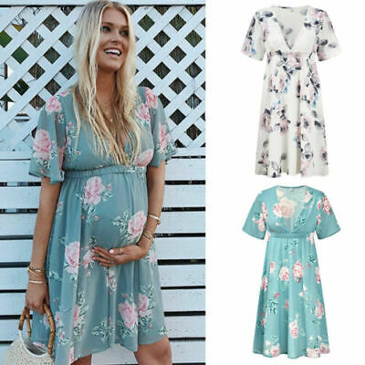 Womens Maternity Dress Casual V Neck Chiffon Floral Daily Party Beach Sundress R