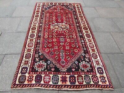 Old Hand Made Traditional Persian Rug Oriental Wool Red Large Rug 261x140cm