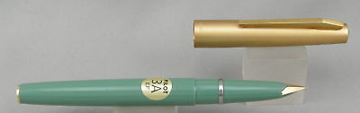 Pilot 3A Green w/ Satin Gold Cap Fountain Pen - Mint New-Old-Stock - 1970's