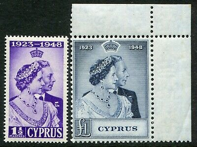 Cyprus 1948 Silver Wedding SG 166 & 167 unmounted mint (cat. £61.50)