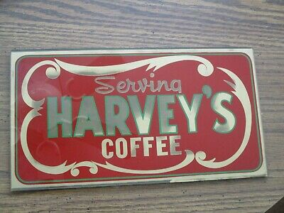 Old Antique Vintage  HARVEYS COFFEE ART DECO   ADVERTISING SIGN rare