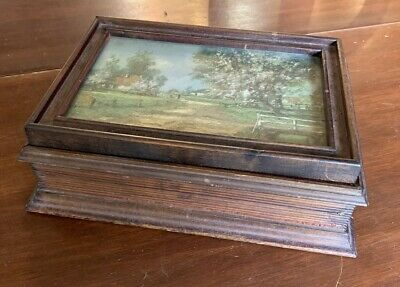 Vintage Wooden Art Deco Picture Frame Lift-Top Jewelry Box w/ Country Print