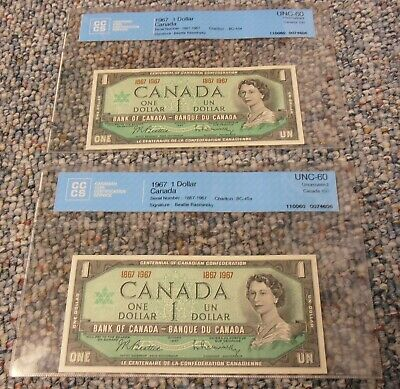 1867-1967 2 x $ 1.00 Canadian Bank Notes (CCCS) Certified UNC-60 Commemorative