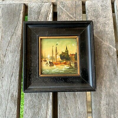 19th Century ORIGINAL ANTIQUE MINIATURE OIL PAINTING ON TILE - SIGNED VERY RARE