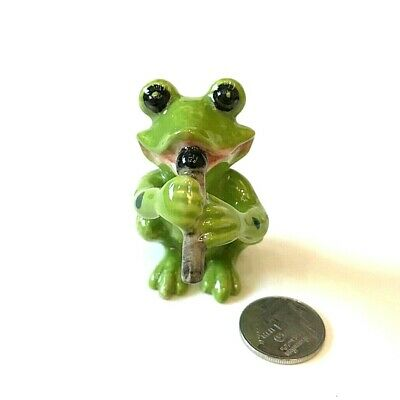 Frog Ceramic Figurine Green Animal Play Flute Music Band Symphonic Collectible