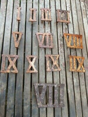 Collection Of 12 Antique Cast Iron Roman Numerals Numbers.poss Grave Markers?