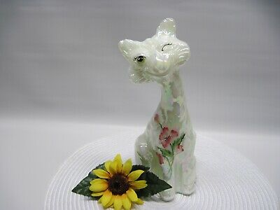 Fenton Alley Cat Rare White Iridized Hp Pink Flowers For Rosso 2008
