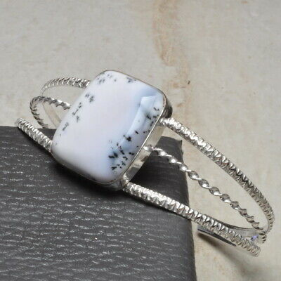"""Natural Dendritic Agate Gems Cuff Bracelet 8""""~10"""" 925 Sterling Silver Plated"""