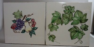 55a96 PAIR (2) ART POTTERY TILES, Marked PT hand painted Ivy and flowers