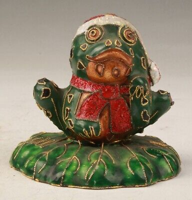 Unique Chinese Cloisonne Hand Carving Frog Cute Figurines Statue Collection