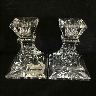 """Waterford Crystal LISMORE Pattern 4"""" Candlesticks Candle Holders = Minty!!"""