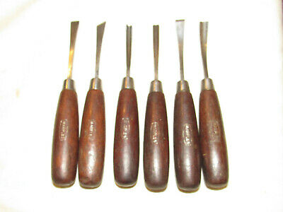 6 small Marples carving chisels tools old woodworking tool woodcarving chisels