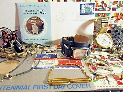 Junk Drawer Estate Lot Auction Jewelry Silver Medal Stamps Watches Vtg Reuse
