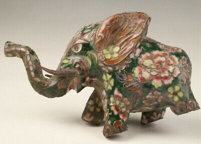 Precious Chinese Cloisonne Hand Carving Elephant Figurines Statue Collection