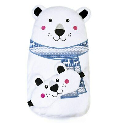 Soft Plush Covered Rubber Hot Water Bottle With Matching Eye Mask - Polar Bear