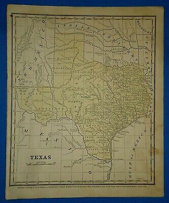 Vintage 1853 TEXAS MAP Old Antique Original Hand Colored Atlas Map