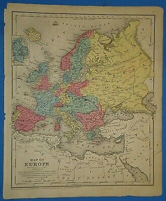 Vintage 1853 EUROPE N. AFRICA ASIA MINOR MAP Old Antique Original Hand Colored