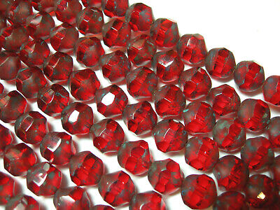 75 RUBY RED INTERLOCKING SNAKE GLASS BEADS 9mm DESIGNER COUTURE #022813f
