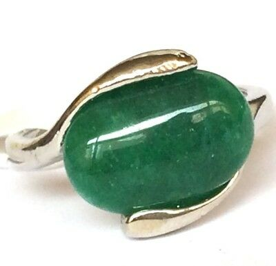 Silver Green Jade Solitaire Cocktail Ring Plated Oval Stone Size 8 9
