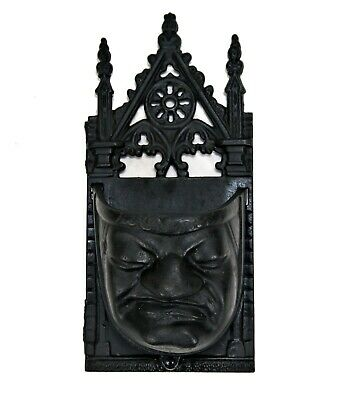 Antique Victorian Grumpy Face Cast Iron Match Holder Gothic Medieval Face