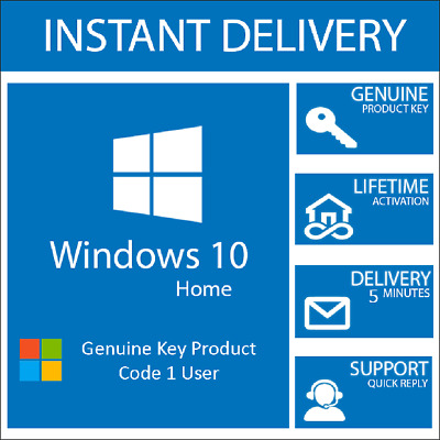 Windows 10 Home 32/64bit Genuine Key Product Code / Win 10 Home Instant Delivery