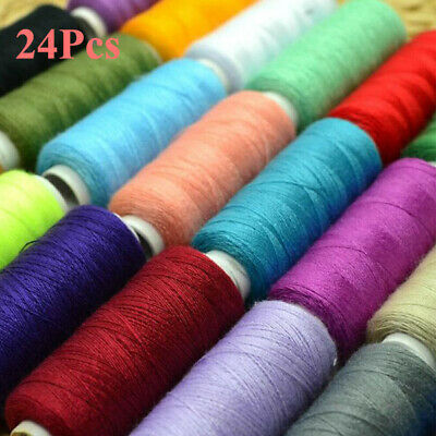 24 Color Spools Finest Sewing 100% Polyester Cotton Thread Reel Machine/Hand Sew