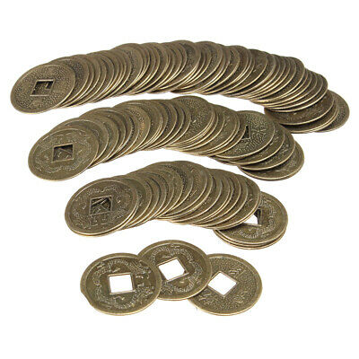 100PCS Chinese Feng Shui Brass Coin Fortune Oriental Emperor Qing Money