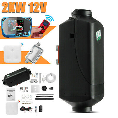 2KW 12V Diesel Air Heater LCD Switch With Remote Silencer For Truck Boat Caravan
