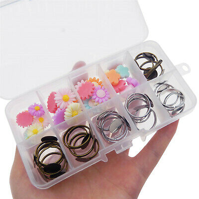 48pcs/Set Jewelry DIY Making Kits Accessories Ring Blank Resin Flower 13-16mm
