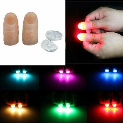 2pcs LED Finger Thumbs Light Magic Trick Tool Party Bar Flashlight Magician Prop